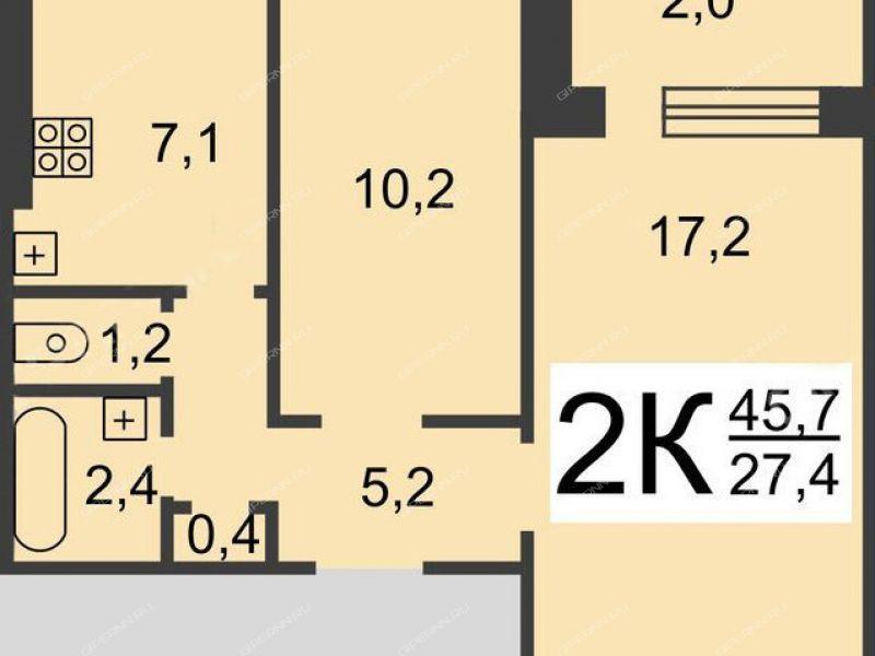 двухкомнатная квартира на улице Генерала Зимина дом 16